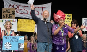 Michael Eavis joins the Avalonian Choir for a pro-feminist event organised by the White Ribbon Alliance on The Park Stage