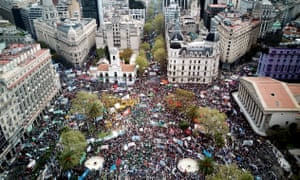 Thousands of people gather in Plaza de Mayo during a protest against Argentine President Mauricio Macri's economic policies