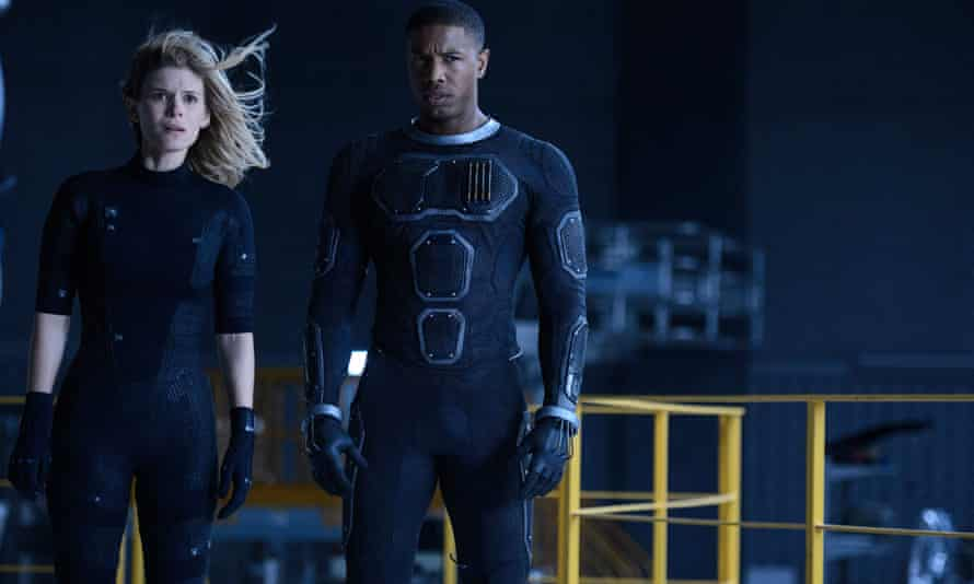 Watch me disappear … Kate Mara as Sue Storm/Invisible Woman, and Michael B Jordan as Johnny Storm/Human Torch in Fantastic Four.