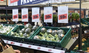 Plastic-wrapped vegetables at a Tesco Jack's shop, in Cambridgeshire