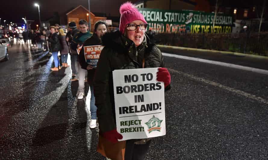 Sinn Féin hold an anti-Brexit rally in Belfast, Northern Ireland.