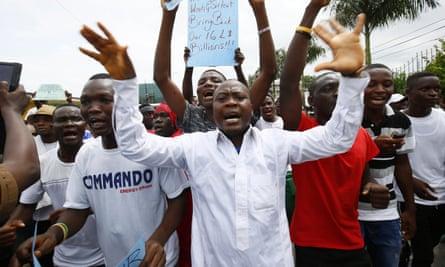 Protesters in Monrovia