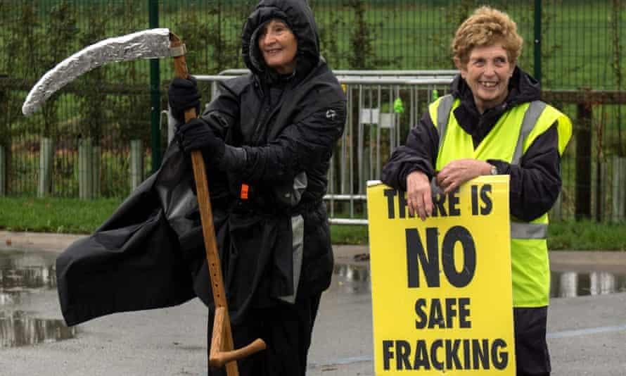Anti-fracking protesters near Blackpool