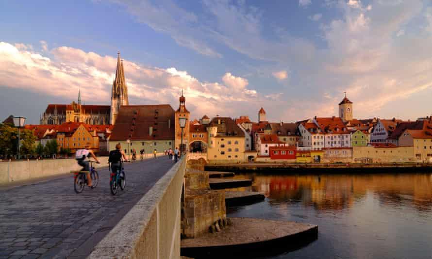 Regensburg, view across the Danube.