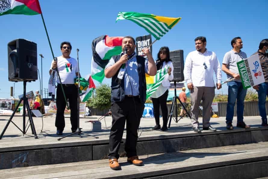 Abden Sham from UKPal at a protest in support of Palestine and Kashmir