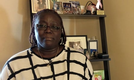 Greta Carter-Wilis in her home at the location where her son, Kevin Cooper, was shot and killed by the Baltimore Police Department in 2006.