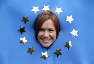 Susan from south Wales poses with a homemade EU flag