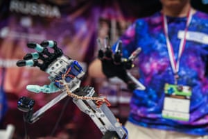 Izmir, Turkey. A bionic hand model displayed during the First LEGO League open international competition