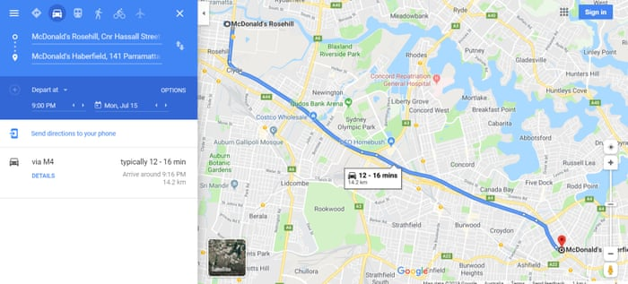 Newly opened WestConnex tunnel missing from Google Maps