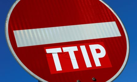 A no entry sign against the TTIP free trade agreement in Frankfurt, Germany.