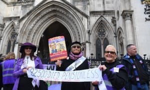 Campaigners outside the Royal Courts of Justice in London.