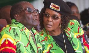 Robert and Grace Mugabe at a youth rally in Marondera, Zimbabwe, 2017.