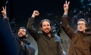 Podemos leader Pablo Iglesias <em>(centre) </em>celebrates the election results in Madrid