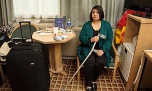 Mahboubeh Jamalvatan in her hotel room