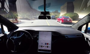 The interior of a self-driving Tesla Model X.