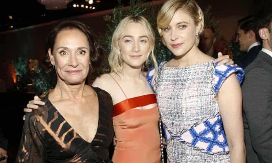 Metcalf with her Lady Bird co-star Saoirse Ronan and director Greta Gerwig.