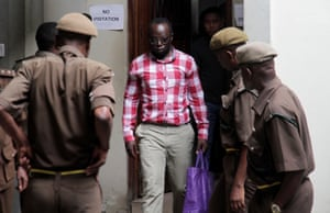 Tanzanian investigative journalist Erick Kabendera arrives at the Kisutu Residents Magistrate Court in Dar es Salaam, Tanzania 19 August 2019.