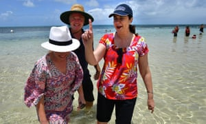 ueensland Premier Annastacia Palaszczuk (right), ALP candidate for Cairns, Michael Healy (centre) and Minister for Tourism, Major Events and the Commonwealth Games, Kate Jones (left) are seen on Green Island, which lies in the Great Barrier Reef, off the coast of Cairns, Tuesday, November 14, 2017. Premier Palaszczuk is campaigning in the Cairns area which is home to four must win electorates. (AAP Image/Darren England) NO ARCHIVING