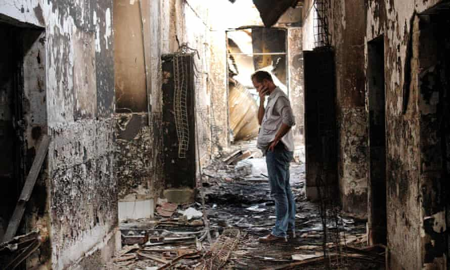 Médecins Sans Frontières employee inside hospital in Kunduz after it was hit by a US airstrike in October 2015