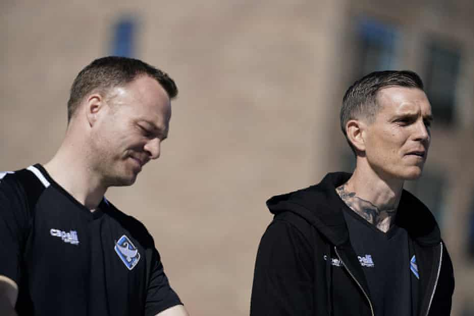 Daniel Agger (right) and Lars Jacobsen are unveiled as the incoming coaches of HB Køge.