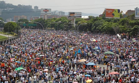 Opposition supporters attend a rally against Nicolás Maduro.