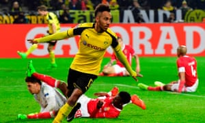 Aubameyang celebrate scoring the fourth and his hat-trick.
