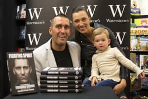 Fernando Ricksen with wife Veronica and daughter Isabella, 2 at Waterstones in Glasgow in June 2014 at a book signing for his autobiography 'Fighting Spirit'.