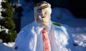 A Donald Trump snowman is pictured in North Portland, Oregon.