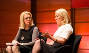 Journalist Anne Summers (left) in conversation with the sex discrimination commissioner, Elizabeth Broderick in Sydney on 7 May.