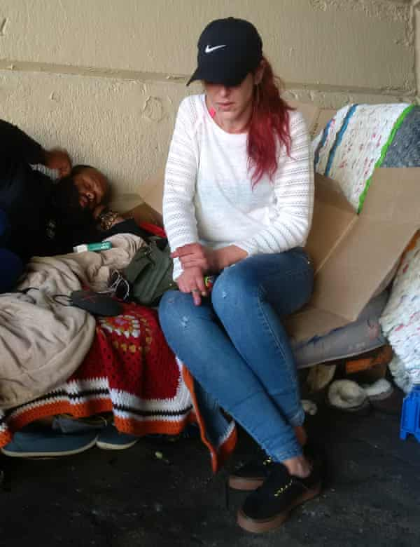 Laura, 28, another long-term addict who has made a home on Emerald Street, shoots six bags every few hours.