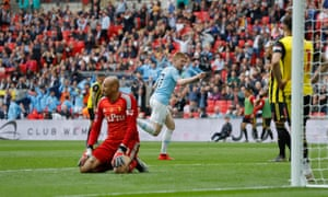 Manchester City's Kevin de Bruyne scores their third goal