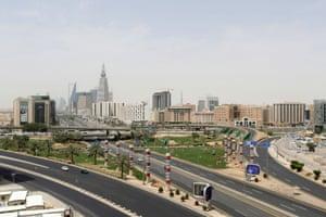 Empty roads in Riyadh.