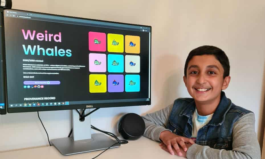 Benyamin Ahmed, 12, with his digital whales on a screen