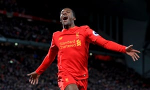 Georginio Wijnaldum celebrates after scoring the third for Liverpool.