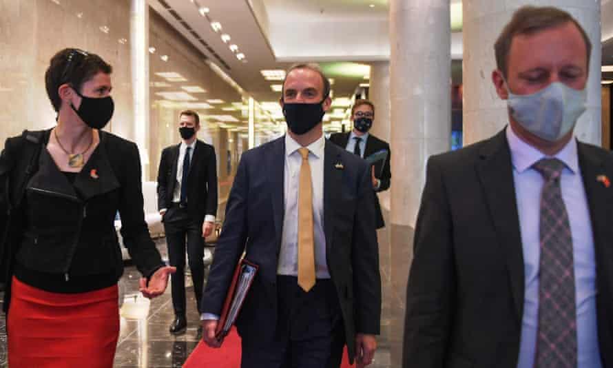 Dominic Raab leaves a meeting in Hanoi, Vietnam