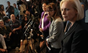 Alumnae from Dr Christine Blasey Ford's high school deliver a letter in her support to the US Senate.