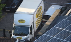 A van believed to be involved in an incident near Finsbury Park Mosque in which the van ploughed into pedestrians.