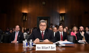 US attorney general William Barr testifies at Senate judiciary hearing on investigation of Russian interference in the 2016 presidential election on Capitol Hill on 1 May.