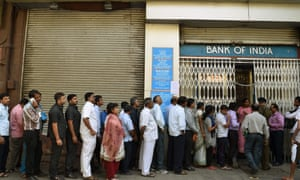 The queue outside the Bank of India in Churchgate, Mumbai.