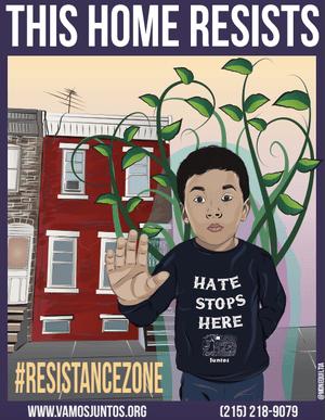 A Juntos community resistance zone poster.