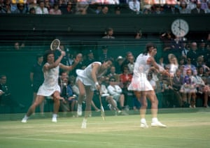 A multiple exposure shot of Billie Jean King and Virginia Wade on Centre Court in 1972