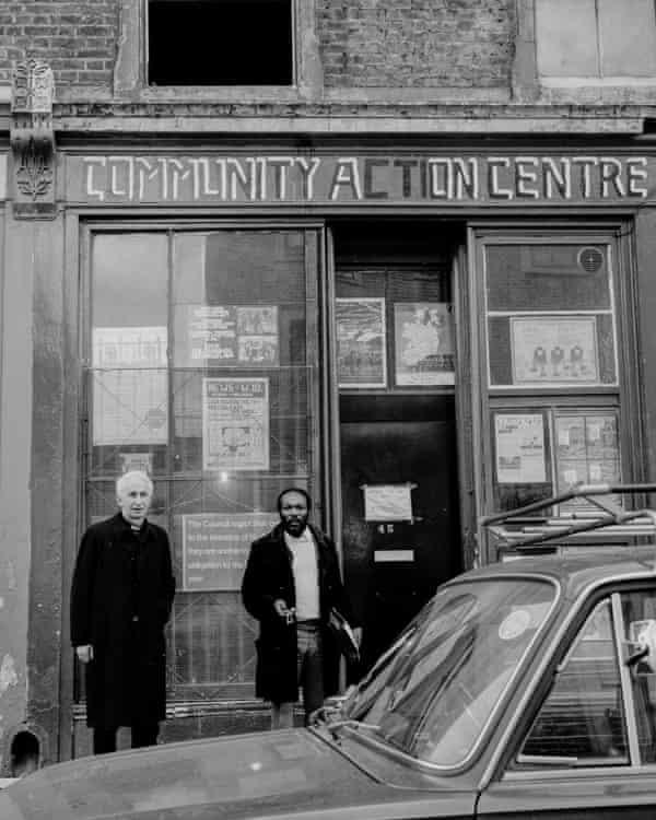 Roddy Kentish showing Cardinal Basil Hume around Notting Hill in 1977.