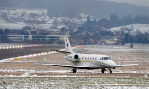 A jet carrying participants to the World Economic Forum (WEF) in Davos taxis at the military airport in Duebendorf, Switzerland,.