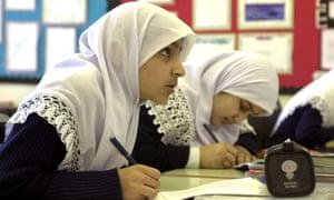 Pupils at the Al Hijrag Muslim faith school in Birmingham