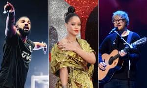 Among Spotify's most-streamed ... Drake, Rihanna and Ed Sheeran.