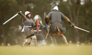 Combatants fight in a Viking re-enactment in Sydney, Australia