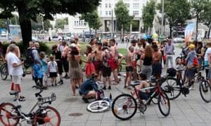 Bikini and swimsuit bicycle ride in Berlin, 14 July 2019.