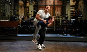 Dwayne Johnson with Beck Bennett on the set of Saturday Night Live.