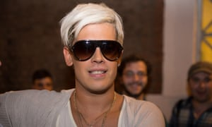 The right-wing writer and internet troll Milo Yiannopoulos attends the Young British Heritage Society launch event, his first British appearance since being banned from Twitter.