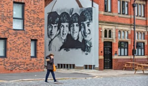 Liverpool, England A new Beatles mural appears on the gable end of The Pheonix pub in Kirkdale
